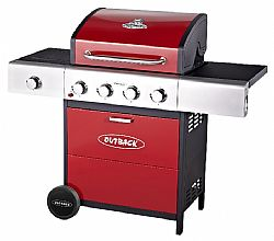 Outback Ψησταριά Meteor Hooded 4 Burner Gas Bbq Grill In Red